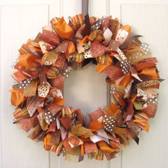 Fall wreath ribbon door wreath for fall decor fabric wreath Fall autumn door wreaths