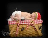 Crocheted Baby Hat - Newborn - 100% Cotton - Watermelon