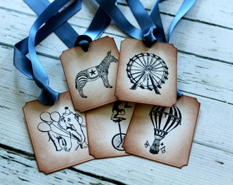 Vintage Inspired Circus Tags - Set of 5 - You choose ribbon color
