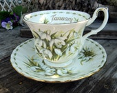 Royal Albert Flowers of the Month Series - Teacup Tea Cup and Saucer -  January Snowdrops 11034