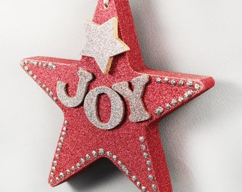 Dark Red Glitter Star Ornament, Silver JOY Letters, Silver Star, Silver Glitter Trim