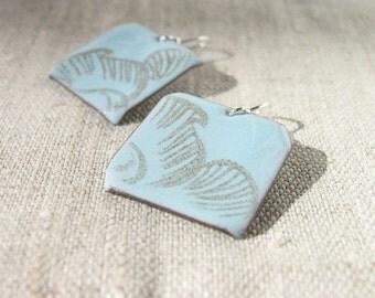Enamel earrings - light blue earrings - square earrings - brown flowers - artisan jewelry by Alery