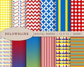 Superman Digital Paper Pack, Scrapbook Papers, 12 jpg files 12 x 12 - Instant Download - DP220