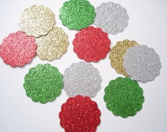 50 Glittered Christmas Scalloped Circles paper punch die cut confetti scrapbook embellishments - No774