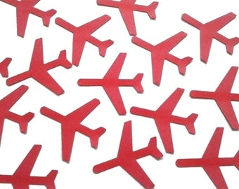 "50 - Medium Red Airplane die cuts punch scrapbook embellishments - 1.5"" airplanes - No475"