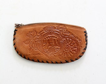 1970s leather change purse, tooled mini clutch