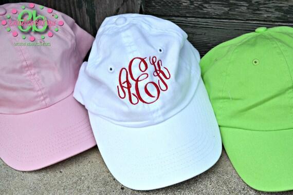 ASSORTED COLORS - MONOGRAMMED Baseball Cap Hat - Bridesmaid Gift - Bridal Shower