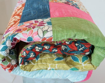 Large Bed Quilt, Heirloom Patchwook Bedding, Garden Wall Fabrics by Laura Gunn