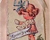 1930's Shirley Temple Ornament, Hanging Art Card, German Glass Glitter, Vintage Rhinestones, Natural Woodland Lichen