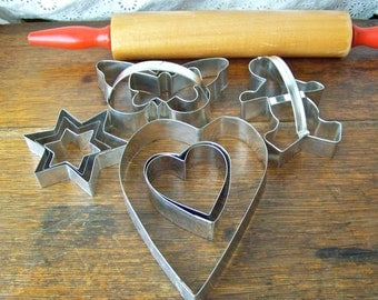 Vintage Cookie Cutter Set Hearts Stars Butterflies and Gingerbread Boy Tin Cookie Cutters Retro Kitchen 1980s