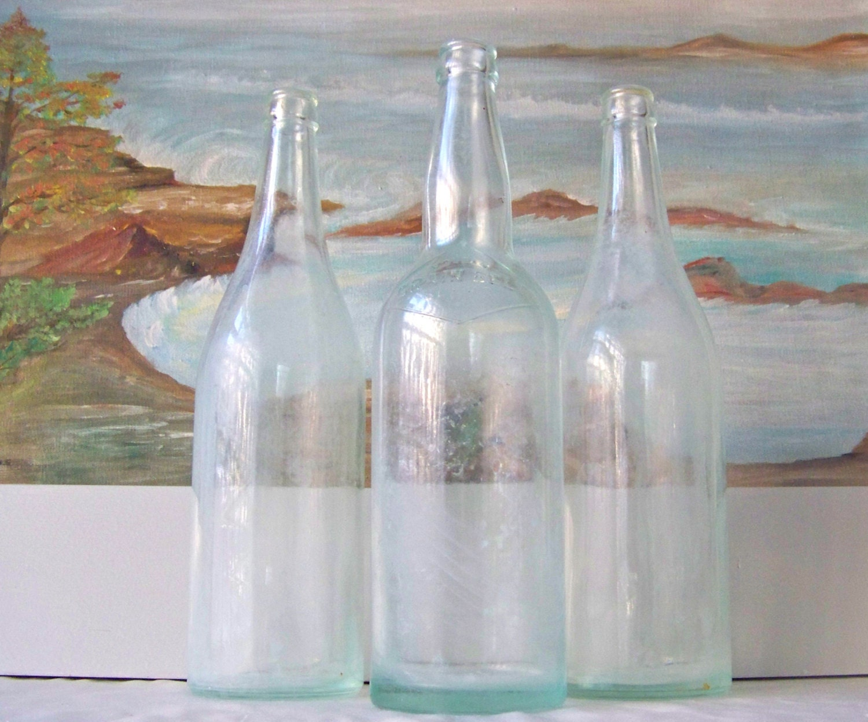 Vintage bottle trio sea foam green home decor green bottles for Seafoam green home decor