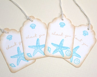 10 Beach Seashore Destination Wedding Favor Tags or Bridal Shower Tags - Tropical Wedding - Seashell Gift Tags - Thank You Tags - Aqua Beige