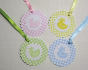Set of 10 Baby Duck Shower Tags- Gift Tags - Baby Tags - Paper Tags - Gingham Tags - Thank You Tags - Baby Shower Favors
