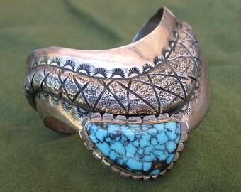 Vintage Sterling Silver, Gold, and Turquoise Bracelet - Snake Design - Andrew Redhorse Alvarez