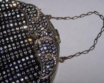 Vintage Rhinestone Evening Bag with Elaborate Art Deco Clasp