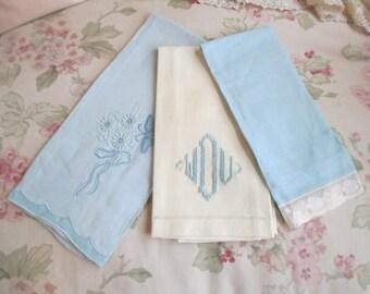 BLUE & White Bundle 3 Vintage Linen Towels Guest Embroidered Monogram WDU Drawn Thread Work Lace Madeira S30