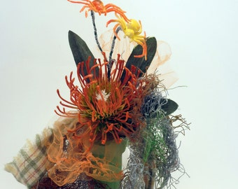 Zombie Orange Corsage with Two Spiders