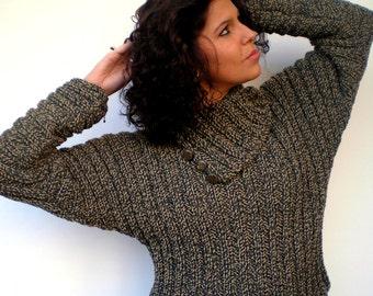 Variegated RIB  Sweater Trendy Pure Soft Wool  Hand Knit Woman Sweater NEW