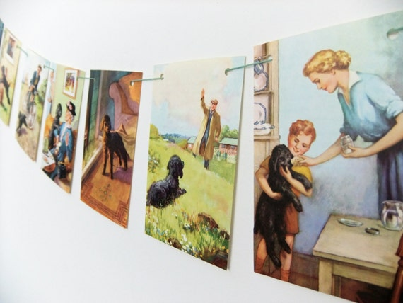 Mick The Disobedient Puppy Bunting, up-cycled banner, vintage Ladybird Book pennants, recycled garland, playroom decor, dog lover