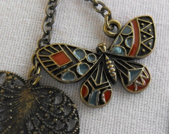 Butterfly Heart Dangle Earrings Antiqued Brass Inlaid Coral and Blue Enamel Vintage Jewelry