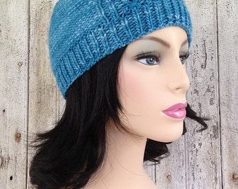 Modern Toque Knitted Hat with Faux Cables
