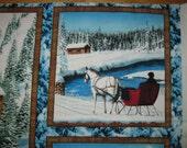 Winter scenic cotton fabric.Three squares cotton Panel