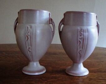 1936 Rare Pair of Roseville Moderne Vases 787-6 - MINT