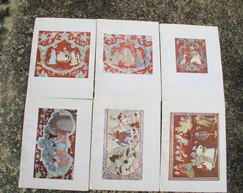 Wall Painting Plates, Vintage Prints from Sujanpur in Lalit Kala Akademi Portfolio No.8,-Set of 6