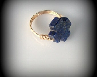 Blue gemstone cross ring - lapis lazuli cross