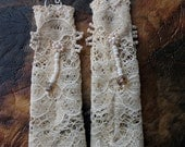 Long Lace Earrings, Cream Bohemian Long Dangle Earrings, elegant lace drop earrings