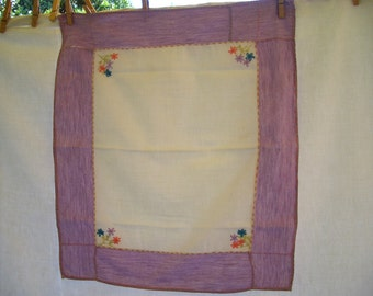 Vintage Runner or Dresser Scarf White Cotton with Embroidery and Lilac Border