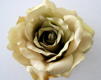 Bamboo Beige Tan Silk Rose Hair Clip,Brooch Pin Combo