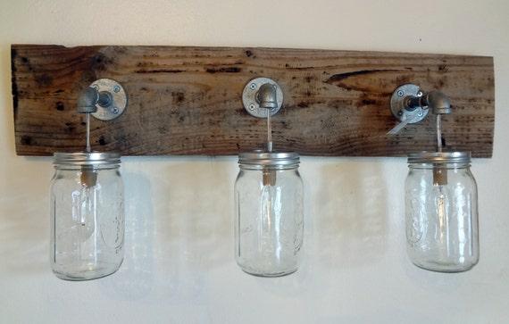 Rustic Bathroom Light Fixtures: Mason Jar 4 Light Hanging Fixture Rustic Shabby Chic Reclaimed
