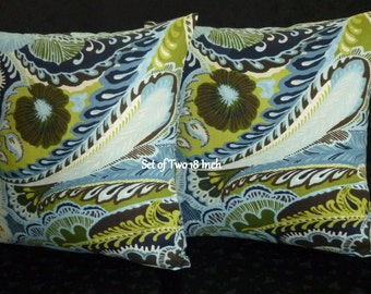 Decorative Throw Pillow Covers - Two 18 Inch in Colors Navy, Lime Green and White