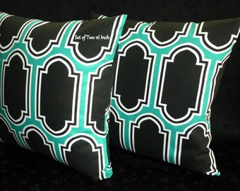 Decorative Throw Pillow Covers / Throw Pillows - Two 16 Inch - Colors include White, Jade and Black.