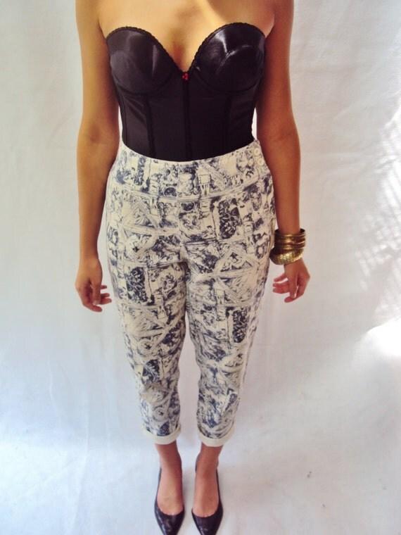 90s skinny jeans / high waist / printed / tapered legs / 6 / 27 inch waist