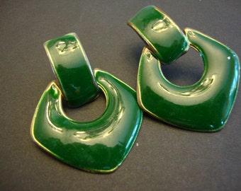 1960's 1970's Vintage Metal Earrings Triangles Retro Jewelry Post Earrings Green Earrings Forest Green 106