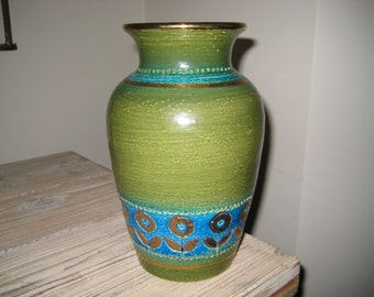 Green Blue and Gold Redware Pottery Vase with Flowers