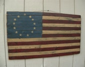 Primitive American Flag Wooden American Betsy Ross Flag