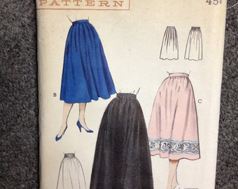 50s Vintage Pattern - Evening or Day Skirts - Waist 30 - Butterick - Unused