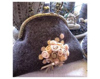Charming elegant bag with romantic flowers
