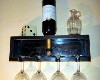 Distressed Black Rustic Shabby Chic wine rack stemware rack
