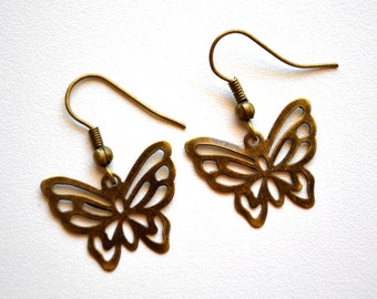 Butterflies . Earrings . Filigree . Antiqued Brass