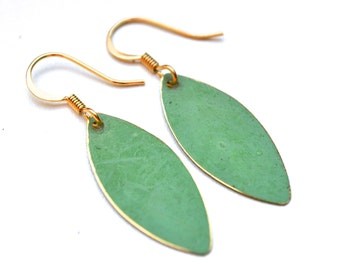 Green Patina and Gold Marquise Drops . Earrings . Mara Collection