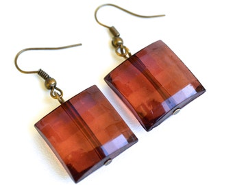 Wine Faceted Squares . Earrings