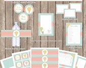 Hot air balloon baby shower package, chevron baby shower, pink and turquoise baby shower, printable, (INSTANT DOWNLOAD) - balloon2