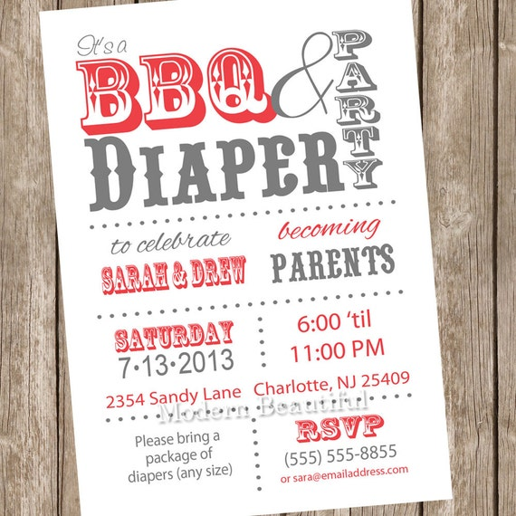 Couples Bbq Baby Shower: White And Red Couples BBQ And Diaper Baby By ModernBeautiful