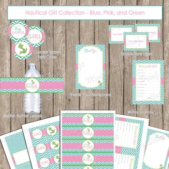 girl nautical baby shower package chevron baby shower pink aqua