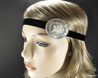 Great Gatsby Headpiece, 1920s Headband, Flapper Costume Silver Beaded Headband, Roaring 20s Hair Accessories by Adorning Beauty