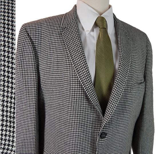 Vintage 1960s Mens Sport Coat 60s Narrow Lapels Black And